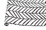 Vendod Papier peint à motif géométrique moderne minimaliste à chevrons Noir/blanc Vinyle autocollant décoratif 0,5 x 3 m