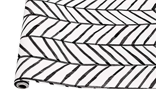 Vendod Tapete, geometrisches Muster, modern, minimalistisch, Fischgrätenmuster, schwarz-weiß, Vinyl, selbstklebend, dekorativ, 45 x 300cm