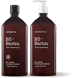 AROMATICA B5+ Biotin Fortifying Shampoo and Conditioner Set | For Thinning, Weak Hair | Blended with 6 black food extracts...