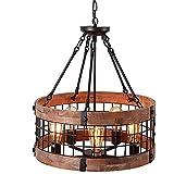 Chandelera de granja de estilo industrial retro, lámpara colgante de la isla de la isla de madera redonda de madera de 5 luces de la vendimia, decoración antigua accesorio de luz de techo for bares re