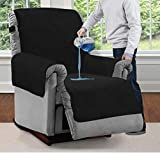 Mighty Monkey Premium Water and Slip Resistant Recliner Slipcover, Seat Width Up to 26 Inch, Absorbs 2 Cups of Water, Oeko Tex Certified, Suede-Like, Cover for Recliners, Dogs, Recliner, Black