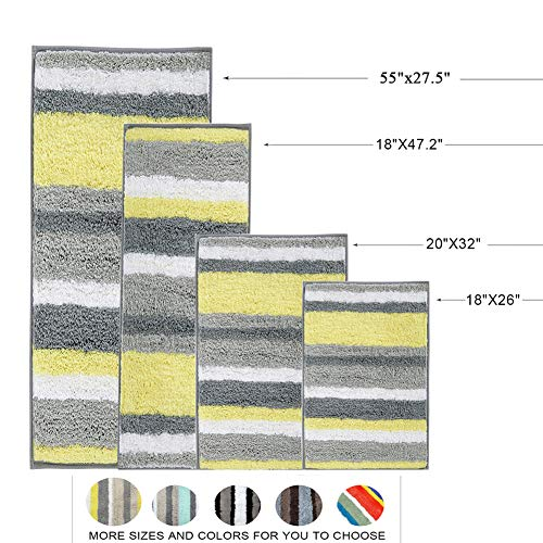 HEBE Non Slip Bath Rug Set of 2 Striped Microfiber Bath Mats Set 2 Piece Absorbent Accent Spa Shower Rug Set 2 Piece for Bathrooms Machine Washable(Yellow/Grey)