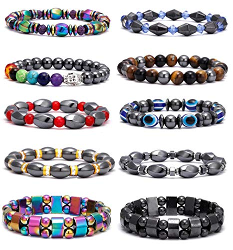 VALIJINA 10 Pieces Hematite Bracelet for Men Women Magnetic Therapy Bracelets Energy Reiki Healing Relief Bracelets Set Healthcare Weight Loss Pain Relief Bracelets