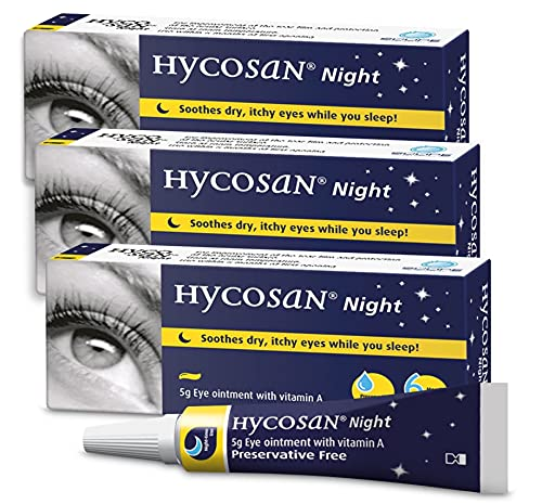 Hycosan Night - Triple Pack - Preservative and Phosphate Free Eye Ointment to Sooth Dry, Itchy Eyes While You Sleep - 3x5g