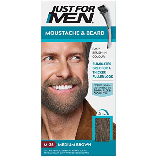 Just for men Moustache & Beard Medium Brown Dye, Eliminates Grey for a Thicker & Fuller Look – M35