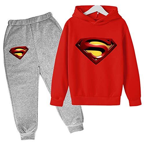 Proxiceen Sudadera con capucha de Superman Anime 3D Cosplay, manga larga, estampado gráfico y pantalón de jogging, sudadera con capucha A6. 160 cm