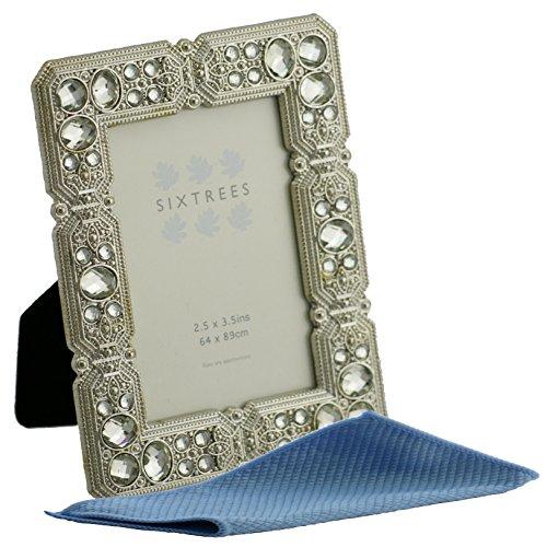 Sixtrees, cornici portafoto con perle e cristalli, eleganti effetto anticato, stile vintage/shabby chic, disponibili in 10 modelli per foto di formato da 6,5 x 9 cm, metallo, Silver, 3.5' x 2.5' Maud