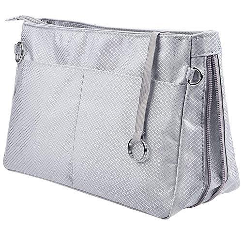 SHINGONE Nylon Bag in Bag Handtaschen Organizer, Reise Kosmetik Tasche Taschenorganizer Mit Reißverschluss, Innentaschen für Handtaschen Grau- Groß