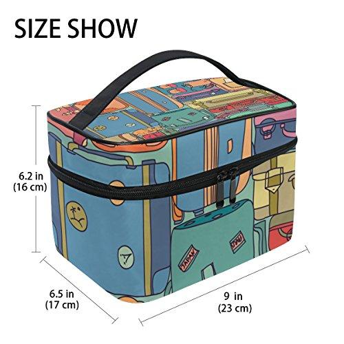 TIZORAX Collectie Van Vintage Reizen Koffers Met Stickers Grote Cosmetische Tas Reizen Make-up Organizer Case Houder voor Vrouwen Meisjes