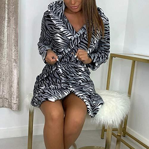 HAIBI Damen Nachtwäsche,Winter Warm Flanell Bademantel Damen Leopard Kurze Robe Weiche Dicke Kimono Roben Dressing Kleid Sleepwear, XL