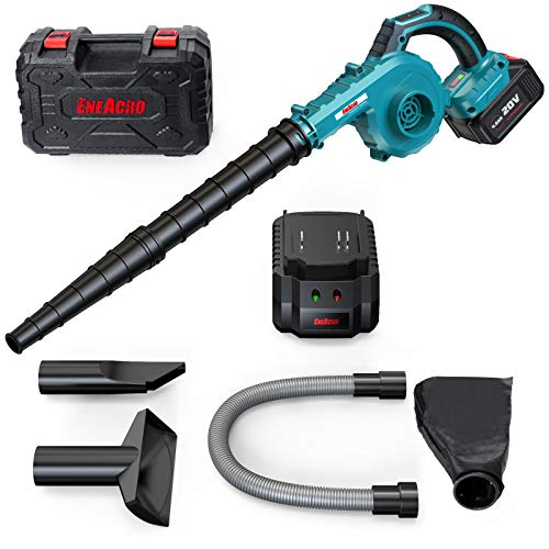 Cordless Leaf Blower, ENEACRO 20V 4AH 150MPH Lithium Battery-Powered 2 in 1 for Sweeper & Vacuum Leaf/Dust, 5 Variable Speed Lightweight with Battery, Fast Charger & Carry Case