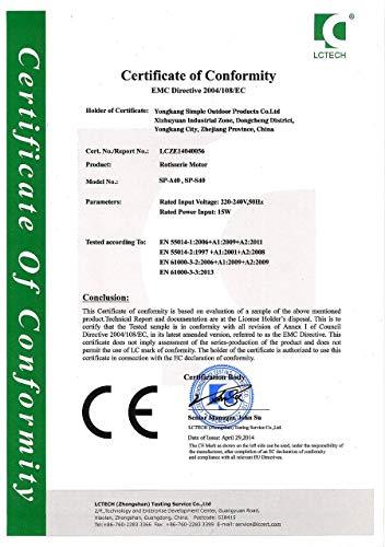 51EJjL1f2OL - WYZXR SP-S40 Edelstahl BBQ Grill Röster Elektromotor Große Kapazität Automatische Drehung Einfache Installation Ziegenschwein Huhn Grillzubehör im Freien (220V-240V)
