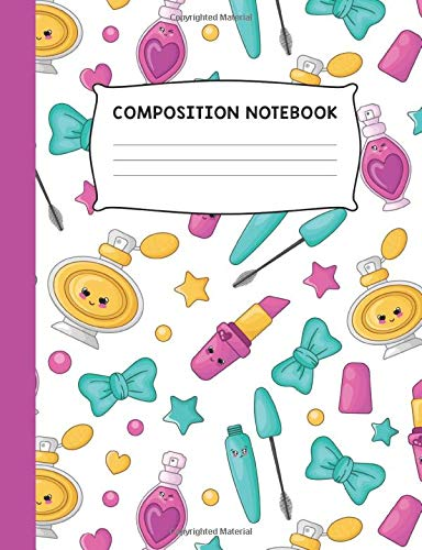 Composition Notebook: Makeup Hearts and Bows Colorful Trendy Design Wide Ruled Notebook Journal