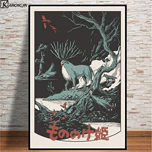 LGXINGLIyidian Studio Ghibli Tribute Poster Totoro Princess Hot Anime Wall Art Canvas Painting Posters and Prints Room Decorative Home Decor Y1083 50X70Cm