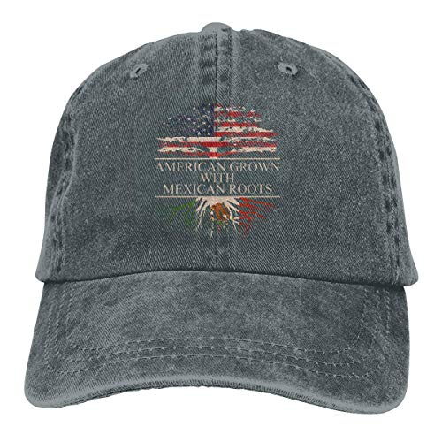 Presock American Grown with Mexican Roots Cowboy Caps Unisex Trucker Baseball Hats Deep Heather