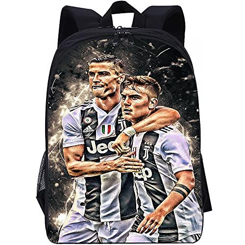 YITUOMO Mochila para niños y jóvenes Cristiano Ronaldo, estrella de fútbol, mochila unisex, mochila informal para viajes escolares, bolsas para tabletas y portátiles
