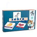 BBDA Juguete educativo de madera para niños de educación temprana rompecabezas juego de palabras de juguete de la letra de juego de palabras cognitivas juguete de ortografía, azul