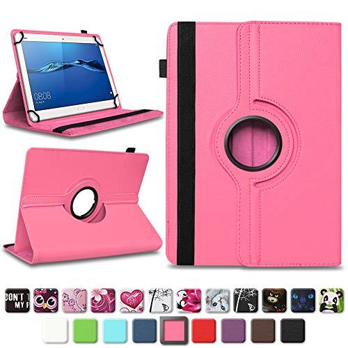 NAmobile Schutzhülle kompatibel für Huawei MediaPad T1 T2 T3 T5 10 Tablet Hülle Tasche Schutzhülle Case 360 Drehbar, Farben:Pink