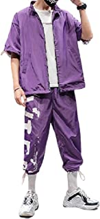 neveraway Mens Casual Tracksuit Short Sleeve Running Jogging Athletic Sports Set