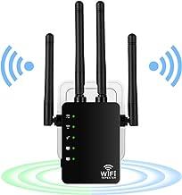 Repetidor de WiFi 1200Mbps, Extensor de WiFi Doble Banda 2.4G/300Mbps+ 5G/867Mbps Amplificador de WiFi con 2 Puerto Ethernet, 4 Antenas Externas, indicador LED, WPS, Cubra la señal hasta 200m²