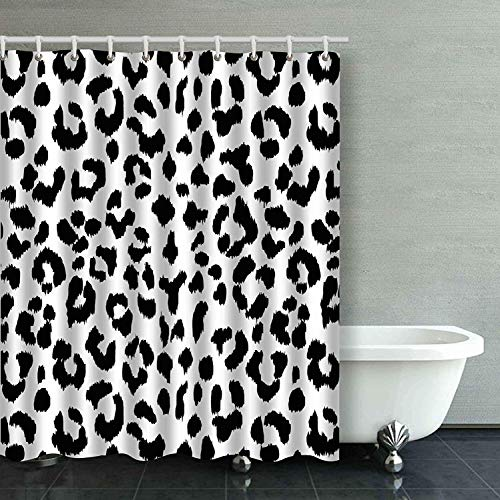 Black and White Leopard Animal Print Shower Curtain