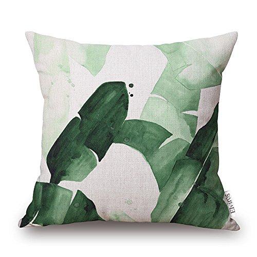 Elviros Dekorativ Baumwoll Leinen Mix Kissenbezug 45 x 49cm - Tropische Blätter