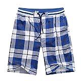 None Brand Pantalones cortos de verano con cintura elástica para hombre, diseño clásico, pantalones cortos de algodón, talla grande 44 Blanco y azul. 180 cm 90 kg 4XL