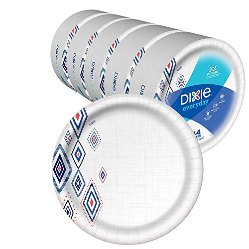 Dixie Everyday Paper Plates, 10 1/16', 220 Count, 5 Packs of 44 Plates, Dinner Size Printed Disposable Plates