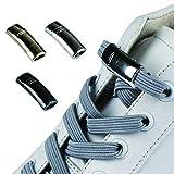 HHYSPA 2 Paires De Lacets Magnétiques De Verrouillage Élastique Shoelace Spécial Créatif Sans Cravate Chaussures Dentelle Enfants Adulte Unisexe Baskets Lacets Cordes (d'or)