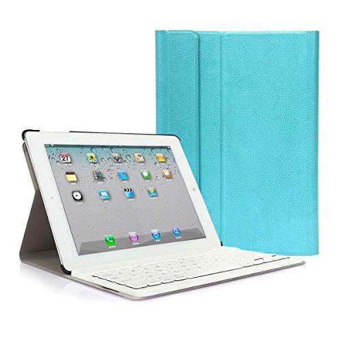 CoastaCloud iPad 2 3 4 Funda con Teclado Bluetooth iPad 2/3/4 Funda Cubierta Protectora con Teclado Inalambrico QWERTY Español (Azul)