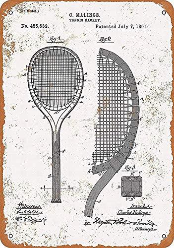 20 x 30 cm Metal Tin Sign,Raqueta de tenis Arte Placa Decoración Hogar Wll Para Café Bar Sala Decoración Vintage