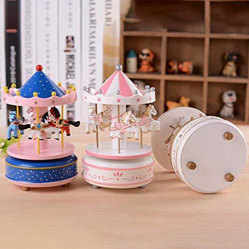 selfdepen Hölzerne Karussell-Spieluhr, handbemalt, umweltfreundlich ungiftige Sprühfarbe Sky City konische Klassische Spieluhr Geburtstagsgeschenk - 4