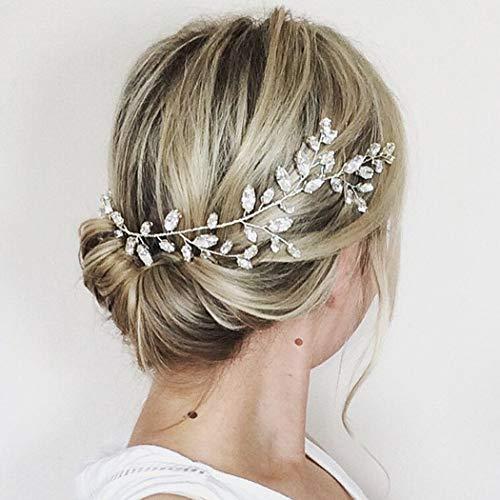 Simsly Braut Kristall Hochzeit Haar Rebe Silberhochzeit Haarschmuck Braut Kopfschmuck für Frauen und Mädchen