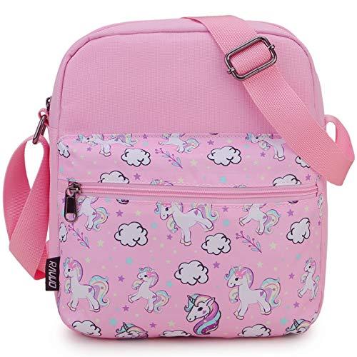 Messenger Bag for Girls,RAVUO Cute Unicorn Lightweight Small Crossbody Bag Purse for Teen Girls and Women Pink