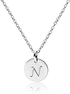 Stainless Steel Initial Necklace Silver Rose Gold Tone Alphabet 0.4