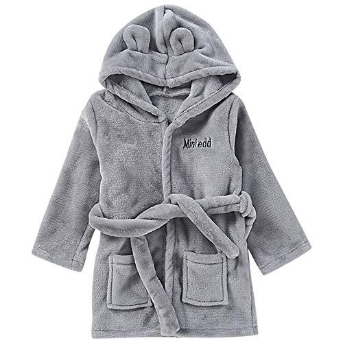 MRULIC Baby Jungen und Mädchen Bademantel Baumwolle Plüsch Kapuzenbademantel Handtuch Pyjamas Nachtwäsche Warme Winter und Frühling Overall mit Gürtel(Grau,12-18 Monate)