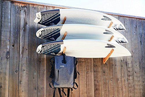 COR Surf Wooden Surfboard Wall Mount for Surf Boards, Snowboards, Skateboards, Kiteboards and Wakeboards, Triple Tier Surf Board Display Holder, Made of Sustainable Bamboo (24 x 4 x 4 Inches)