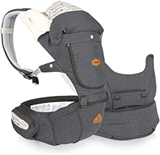 I-angel Miracle All in One Baby Carrier Hipseat Front Backpack Organic Cotton Teething Pads (Melange Charcoal)