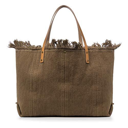 FIRENZE ARTEGIANI. Vanna Borsa shopper da donna. Tessuto cotone bouclé pelle sintetica_PU 50 x 10 x 38 cm. Colore: marrone.