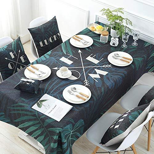 YCZZ Mantel, Mantel Vegetal con patrón de Letras, Mantel Rectangular, Toalla de Cubierta de Mantel de té para el hogar 100 * 140cm Plantas Verdes Home Manteles