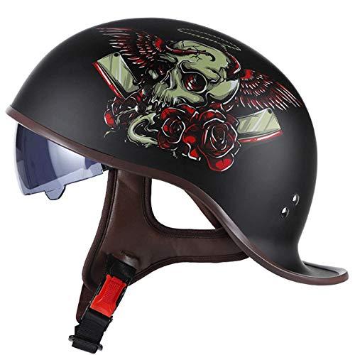 Medio casco de motocicleta, casco de motocicleta vintage, casco de motocicleta de plástico ABS, medio casco unisex, para Motorbike Biker Pilot ECE Homologado H,XL(61~62cm)
