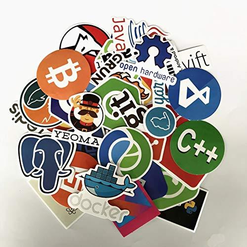 50pcs Internet Programming Stickers Java Js PHP HTML Cloud Docker Bitcoin Programming Language App Logo Laptop Stickers