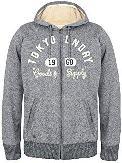 Tokyo Laundry Mens Hooded Sweatshirt Jacket Coat Sherpa Fleece Lined Winter New