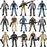 14 Pack Army Men and SWAT Team Soldiers Action Figures,Soldiers Action Figures Playset with 14 Design Military Weapons Accessories, for Kids Child Boys Girls