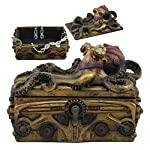 Ebros Faux Bronze Steampunk Octopus On Pirate Treasure Chest Decorative Jewelry Box Figurine Gas Mask Kraken Foot… 6