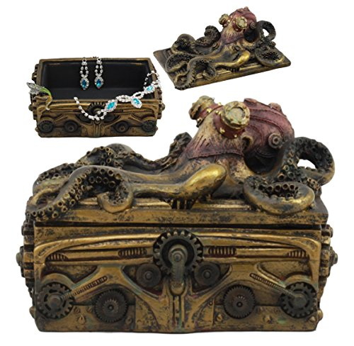 Ebros Faux Bronze Steampunk Octopus On Pirate Treasure Chest Decorative Jewelry Box Figurine Gas Mask Kraken Foot… 3