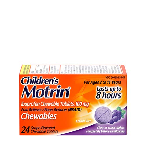 Motrin Children's Chewable Tablets with 100 mg Ibuprofen for Pain & Fever, Grape, 24 Count