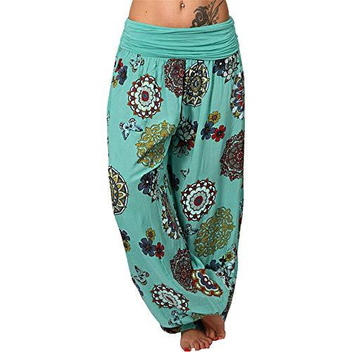 Dihope Harem Palazzo Bloomers Sarouel Aladin Trousers estampados bohemios pantalones para yoga danza verde 48 ES( etiqueta 5X-Large )