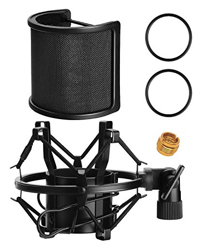 Microphone AT2020 Shock Mount with Pop Filter, PEMOTech Universal Shock Mount for 46mm-53mm Diameter Mic compatible for AT2020 Anti-Vibration Suspension Microphone Shock Mount Bonus Screw Adapter