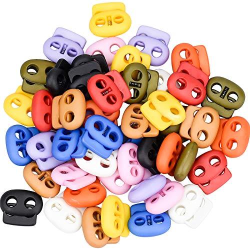 50 Piezas Cierre de Cuerda con Resorte, Cerradura de Cordón de Plástico de Doble Orificio Multicolor para Mochila Ropas Zapatos